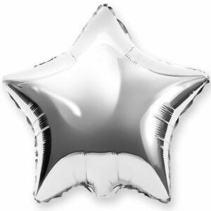 Фольгированный шар. Звезда Серебряная
