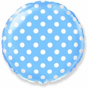 """Фольгированный шар. Круг """"Точки"""" Голубой"""