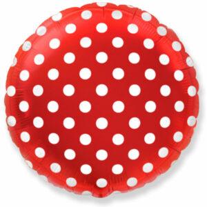"""Фольгированный шар. Круг """"Точки"""" Красный"""
