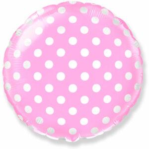 """Фольгированный шар. Круг """"Точки"""" Розовый"""