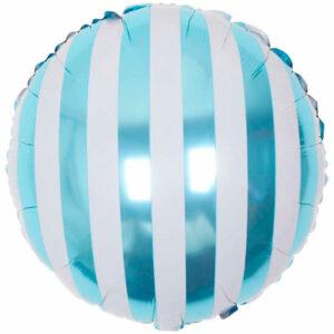 """Фольгированный шар. Круг """"Полосы"""" Голубой"""