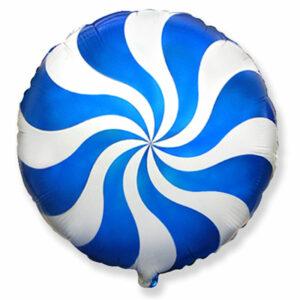 """Фольгированный шар. Круг """"Леденец"""" Синий"""