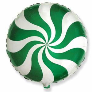 """Фольгированный шар. Круг """"Леденец"""" Зеленый"""