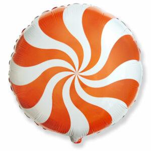 """Фольгированный шар. Круг """"Леденец"""" Оранжевый"""