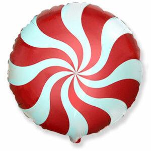 """Фольгированный шар. Круг """"Леденец"""" Красный"""