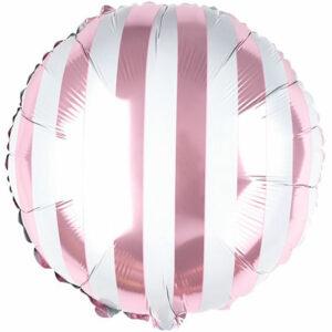 """Фольгированный шар. Круг """"Полосы"""" Розовый"""