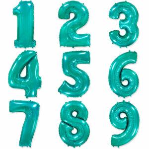 """Фольгированный шар. Цифра """"Tiffany Blue"""" (Выбор цифры)"""