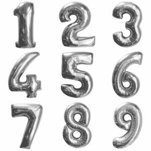 Фольгированный шар. Цифра Серебряная (Выбор цифры)