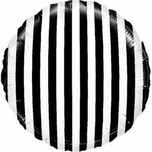 """Фольгированный шар. Круг """"Полосы"""" Черный"""