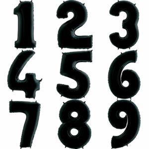 Фольгированный шар. Цифра Черная (Выбор цифры)