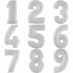 Фольгированный шар. Цифра Белая (Выбор цифры)