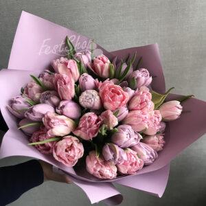 Букет из пионовидных тюльпанов №1