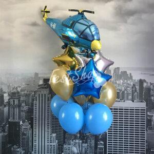 """Композиция из воздушных шаром """" с голубым вертолетом № 1 """""""
