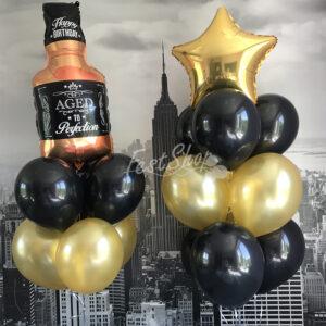 """Композиция из шаров """" с бутылкой виски № 2″"""