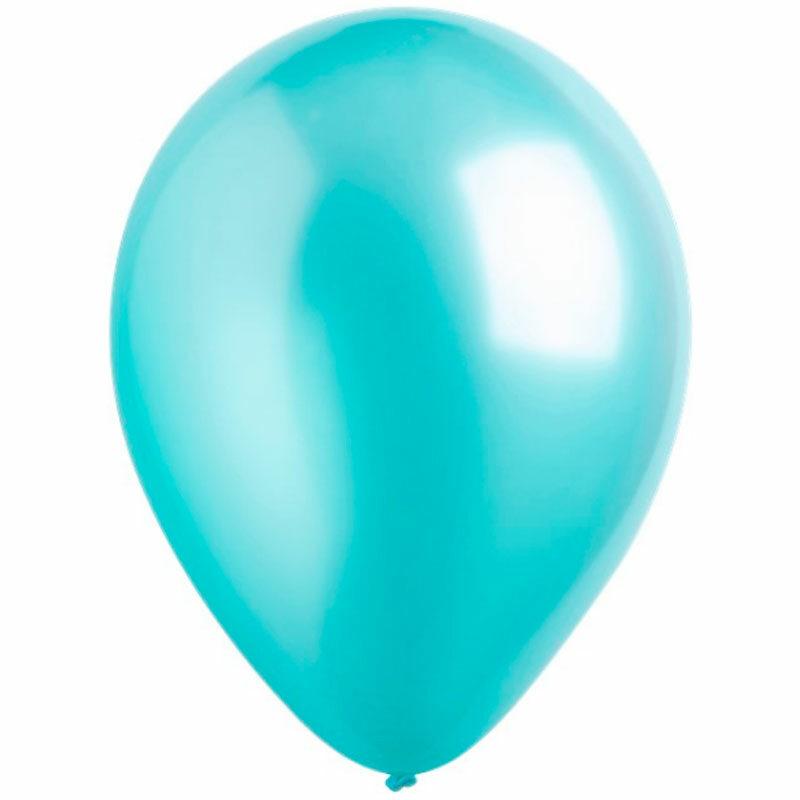 Воздушный шар робиновый голубой металлик