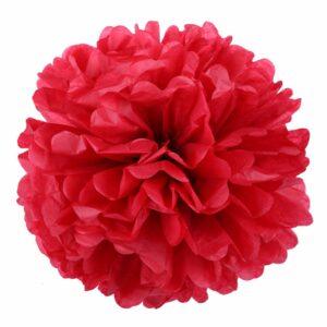 Бумажный помпон. Красный (Выбор размера)